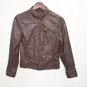 Black Rivet Brown Leather Jacket Small